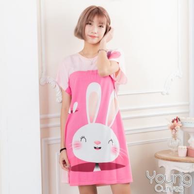 睡衣 牛奶絲質短袖連身睡衣(C01-100717兔兔跑哪去) Young Curves