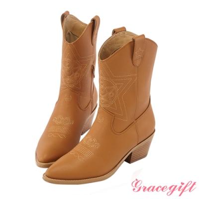 Grace gift-美戰變身器西部中跟靴 棕