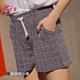 【brs】棉麻寬鬆涼感格子短褲