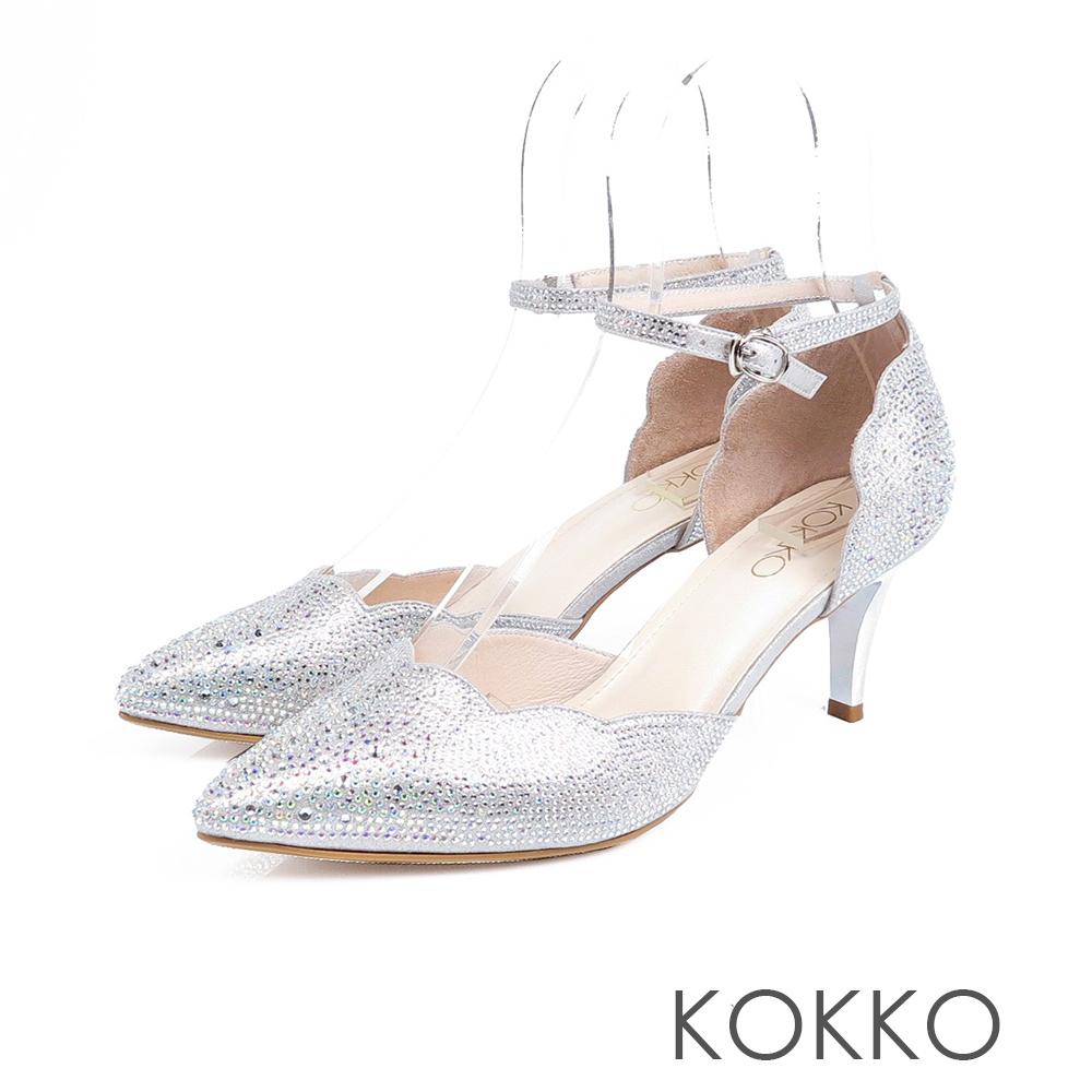 KOKKO -  童話小鎮漸層感水鑽尖頭高跟鞋 - 醇銀