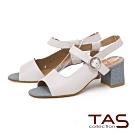 TAS 質感素面羊皮側鏤空魚口粗跟涼鞋-經典白