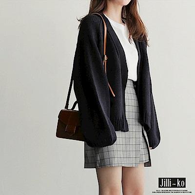 Jilli-ko 韓版短款針織外套-卡/黑