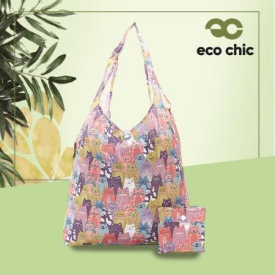 【英國ECO】時尚摺疊購物袋-多漾貓(100%再生環保纖維布料)(快)