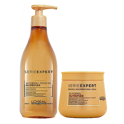 *LOREAL萊雅 絲漾博滋養升級版小資洗護組(洗髮500ml+髮膜250ml)