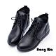 Hong Wa - 素面時尚綁帶牛皮械型短靴 - 黑 product thumbnail 1