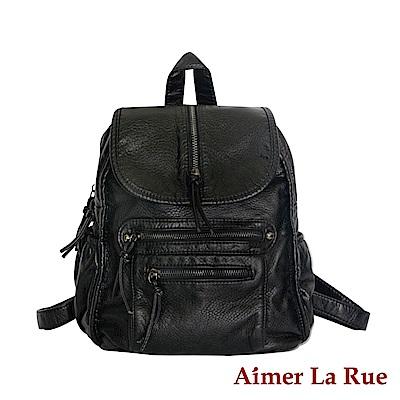 Aimer La Rue 輕柔水洗個性純色後背包-黑色(快)