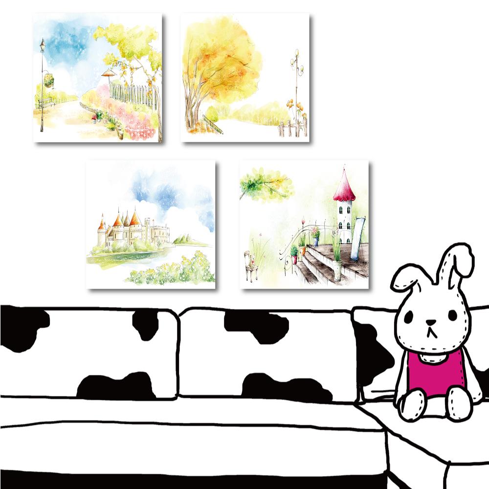 橙品油畫布 四聯式無框畫-童話世界30x30cm