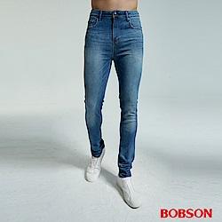 BOBSON 男款大彈力窄管淺藍直筒褲
