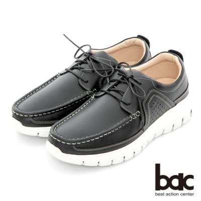 【bac】自信風采 陽光樂活真皮休閒鞋-油藍