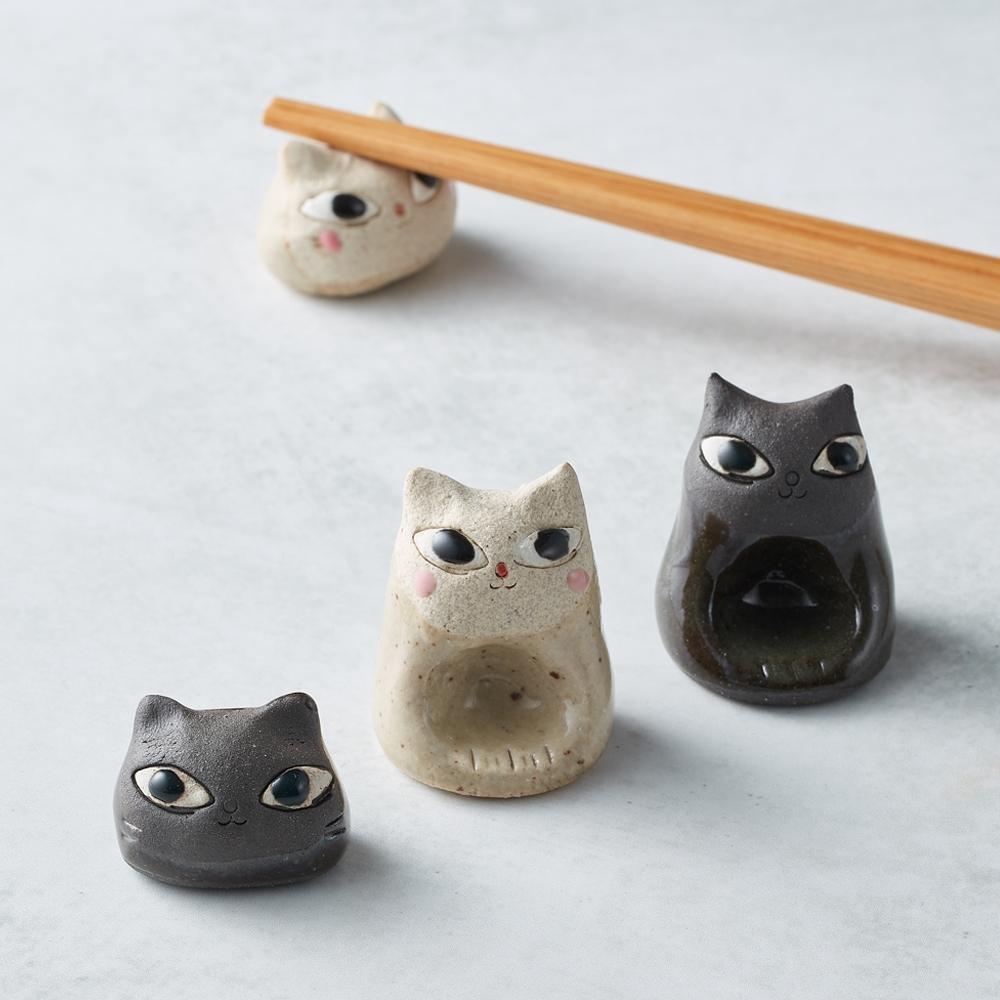 日本美濃燒 - 陶製手作筷架 - 貓咪雙件組(4款可選)