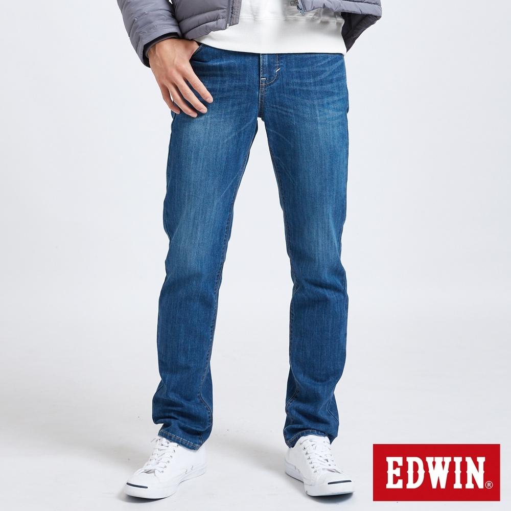 EDWIN EDGE LINE 修身超彈性 直筒牛仔褲-男-中古藍