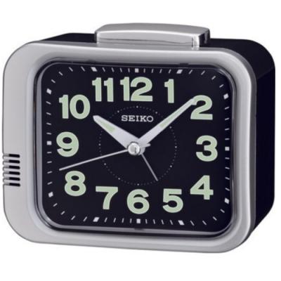 SEIKO 日本精工 夜光 滑動式秒針 響鈴鬧鐘(QHK028A)銀/9.4X11cm