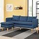 Boden-米恩藍色L型布沙發椅(三人座+腳椅) product thumbnail 1