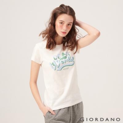 【GIORDANO】女裝DEAR WORLD系列印花T恤-01 皎雪