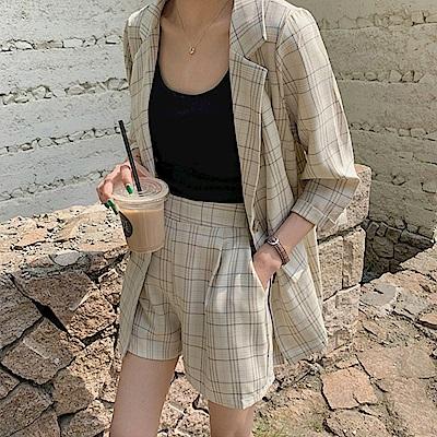 韓國空運 彩格棉麻西裝外套-TMH