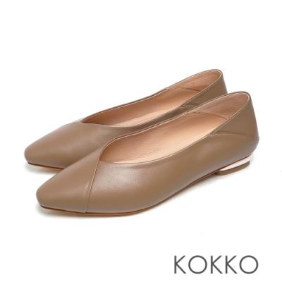 KOKKO極簡方頭超柔軟羊皮平底鞋可可色