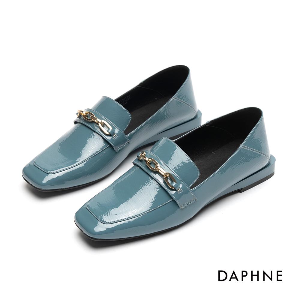 達芙妮DAPHNE 樂福鞋-金屬鍊帶漆皮方頭樂福鞋-藍