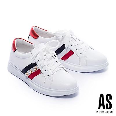 休閒鞋 AS 時髦格式珍珠設計綁帶厚底休閒鞋-白