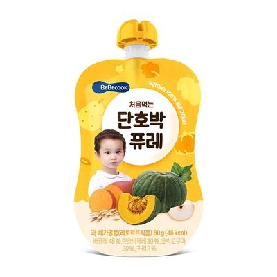 韓國【BEBECOOK】寶膳 嬰幼兒綿綿 雪梨南瓜泥 (80g)