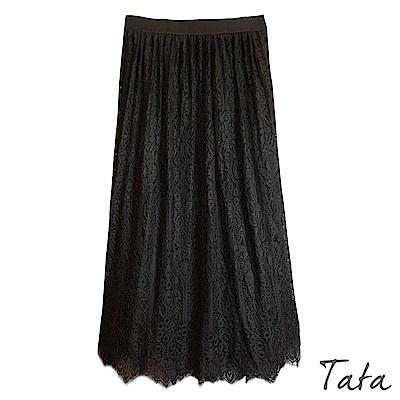 素色壓褶蕾絲兩穿裙 TATA