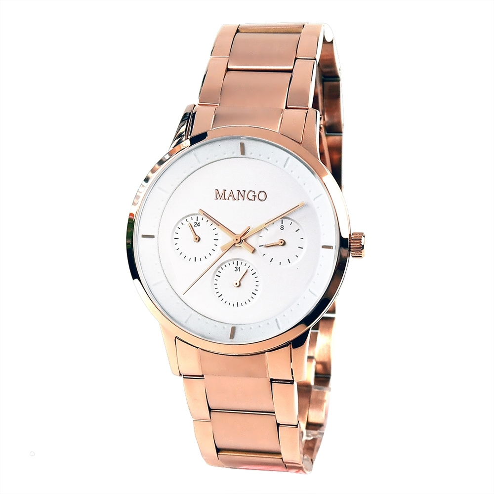 MANGO都會雅痞時尚對錶-玫瑰金/43mm