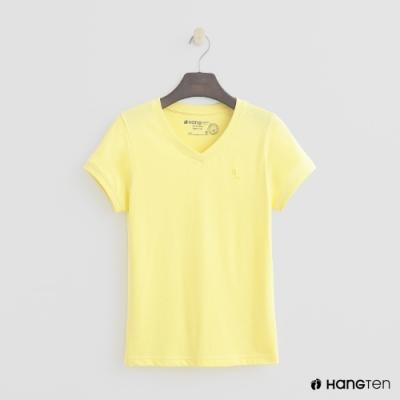 Hang Ten-女裝-有機棉-小V領純色T恤-黃