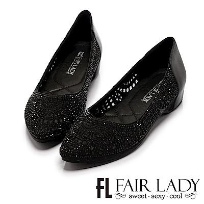 Fair Lady 有一種喜歡是早秋 尖頭點珠網狀鏤空平底鞋 黑
