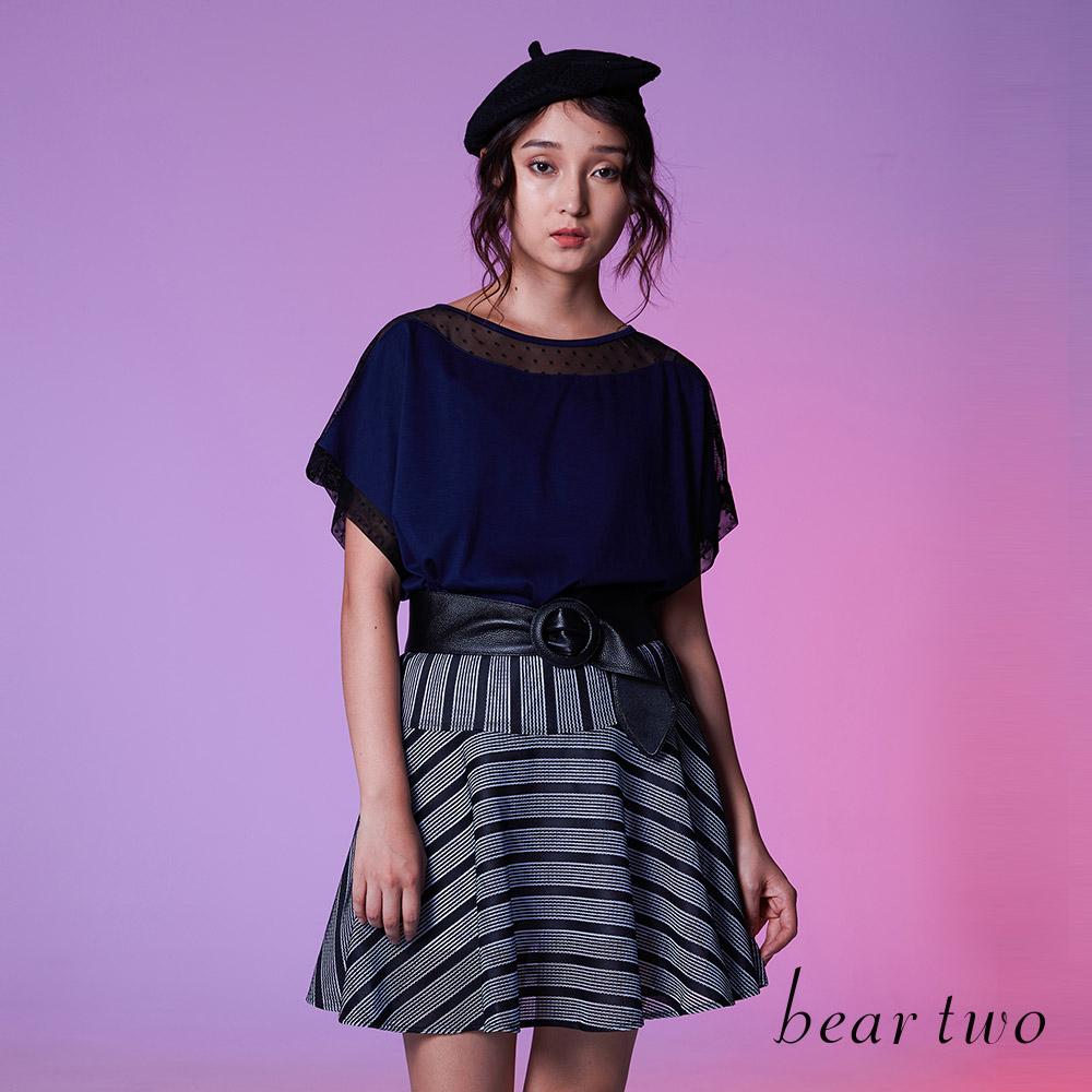 beartwo 優雅可愛網點雙面料結合上衣(二色)