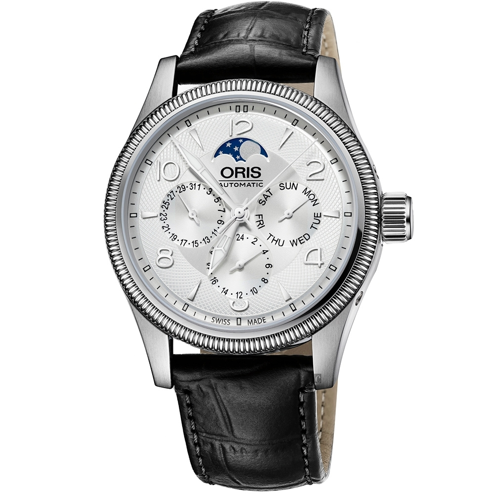Oris 豪利時 Big Crown 大表冠月相盈虧日曆手錶-銀x黑/40mm
