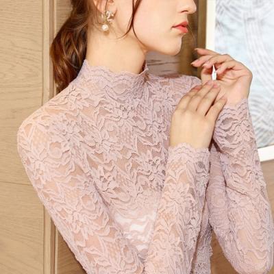 專注內搭-長袖透視性感網紗上衣半高領蕾絲內搭衫(三色S-3XL可選)