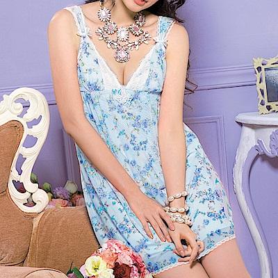 推easybody-花漾公主 居家型細帶洋裝(花園藍)