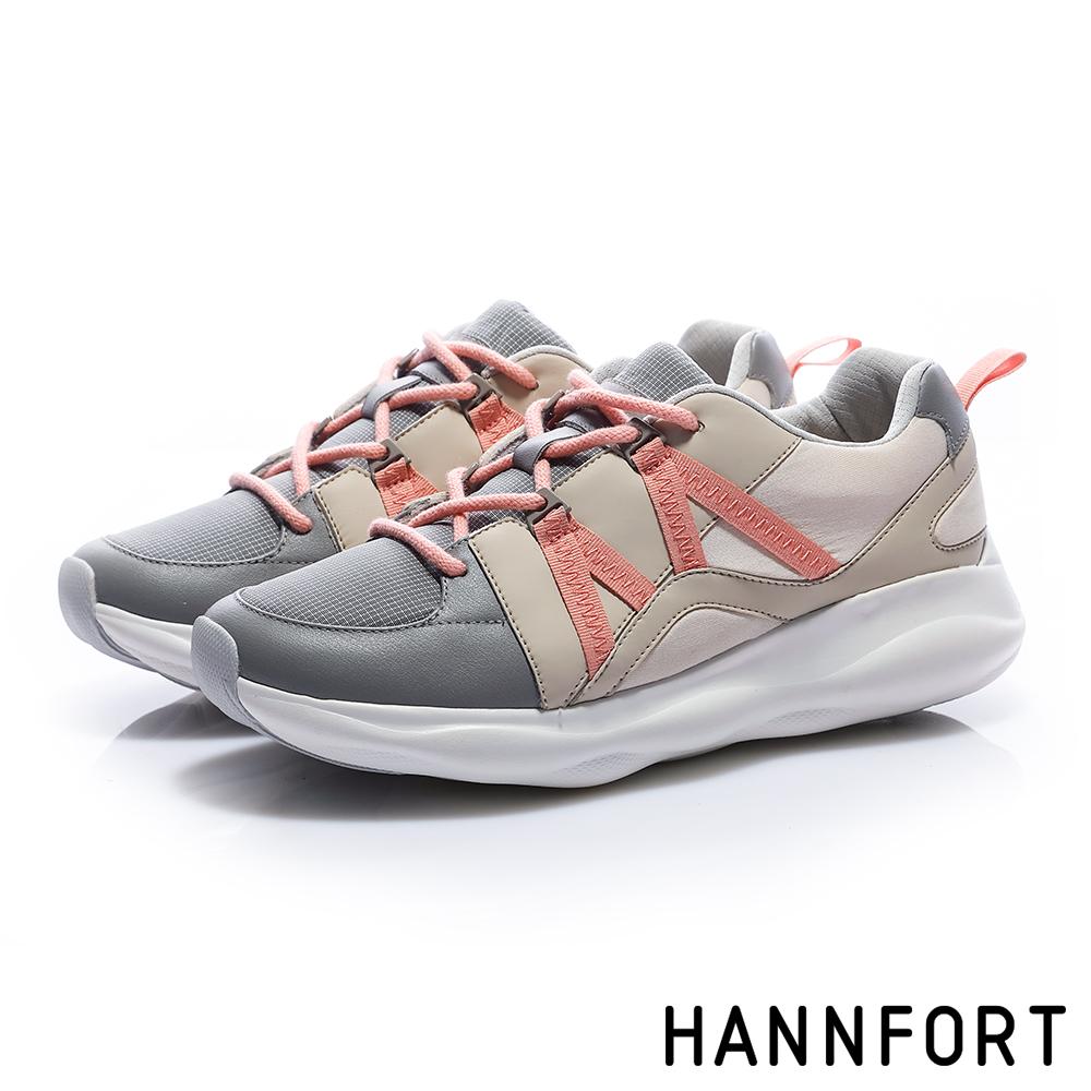 HANNFORT BUBBLES M織帶厚底跑鞋-女-撞色灰
