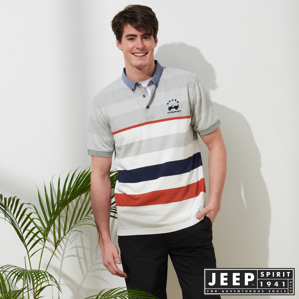 JEEP 條紋拼接短袖POLO衫-灰色