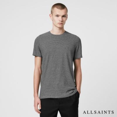 ALLSAINTS TONIC 細條紋公羊頭骨刺繡純棉短袖T恤-黑灰條