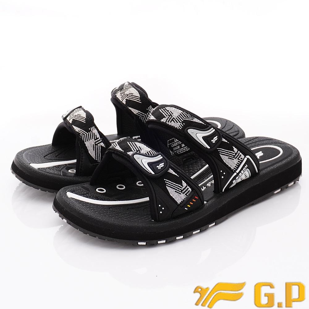 GP時尚涼拖  時尚織帶拖鞋款-ZE573W-81白黑(女段)