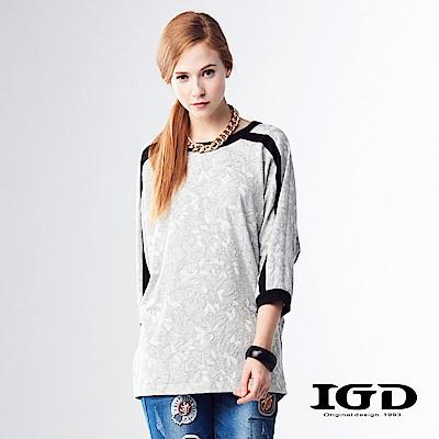 IGD英格麗 優雅花朵布紋羊毛七分袖造型上衣