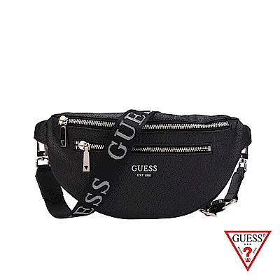 GUESS-女包-素面荔枝紋雙拉鍊拼接腰包-黑 原價2290