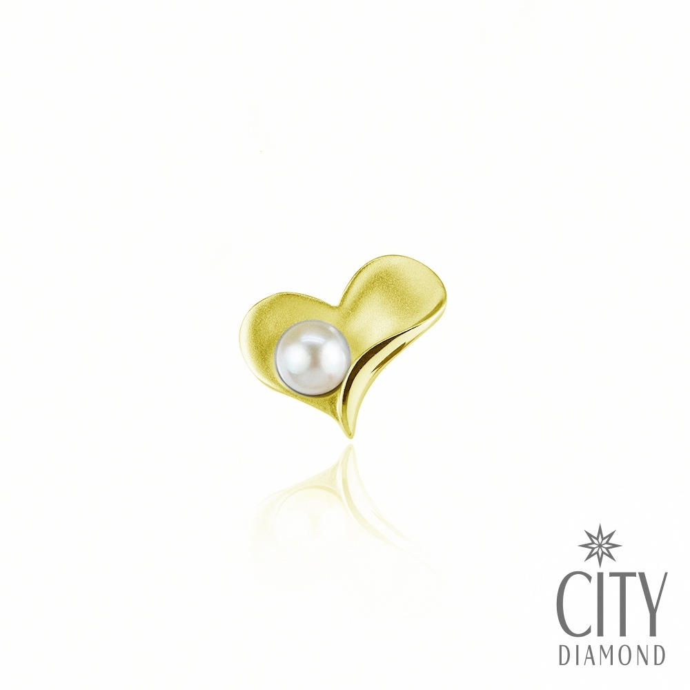 City Diamond 引雅 日本珍珠Akoya金色愛心領帶領帶夾/別針/徽章/胸針【東京Yuki系列】