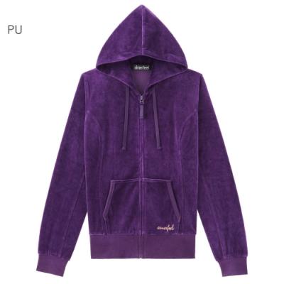aimerfeel 素色絲絨運動服連帽上衣-紫色-840274-PU