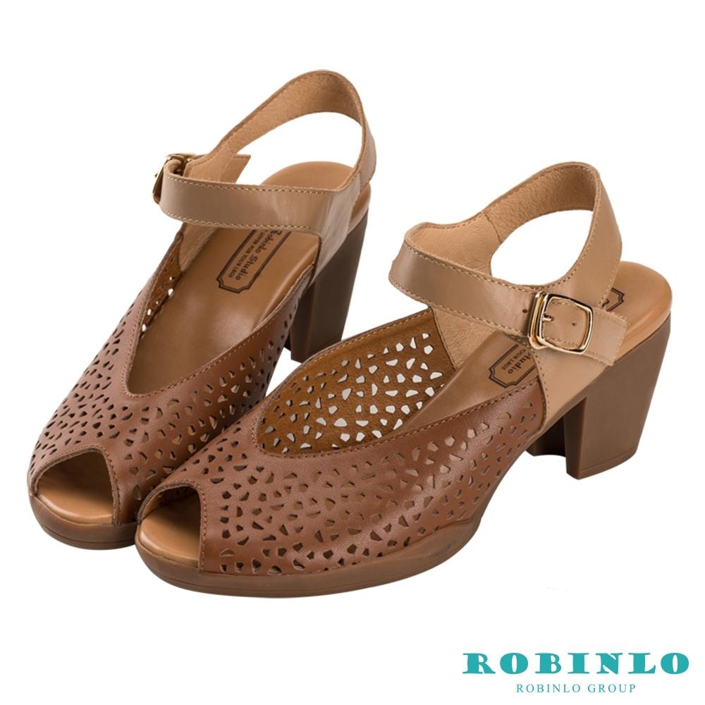 Robinlo清新幾何孔沖繞踝繫帶魚口中跟涼鞋 咖啡色