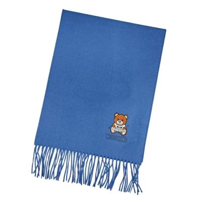 MOSCHINO 電動泰迪熊字母LOGO圖案100%羊毛圍巾/披肩 地中海藍