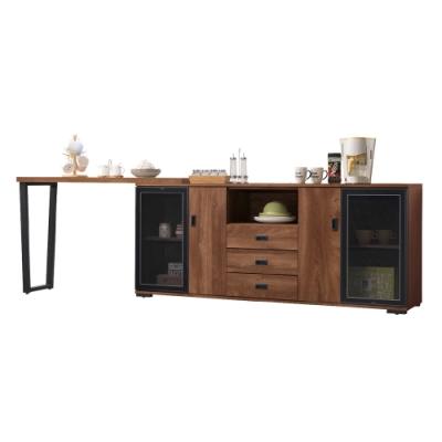 文創集 納波德 現代6.2-10.1尺伸縮機能餐櫃/收納櫃組合-187-302x40x80cm免組