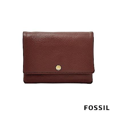 FOSSIL AUBREY金釦設計零錢短夾-酒紅色