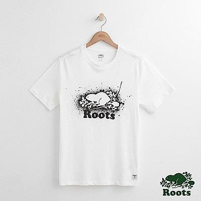 男裝Roots 潑墨庫柏海狸短袖T恤-白