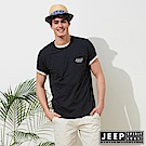 JEEP 簡約美國風素面短袖TEE-男女適穿-黑色