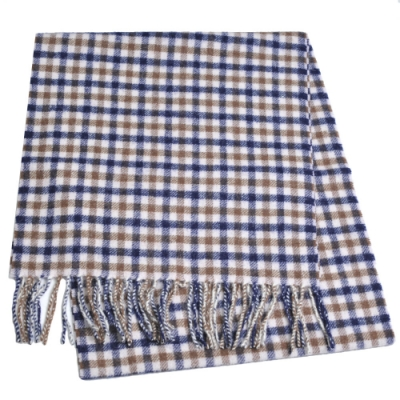 Aquascutum 英國製100%羊毛經典品牌字母LOGO刺繡圍巾(深藍咖啡格紋)