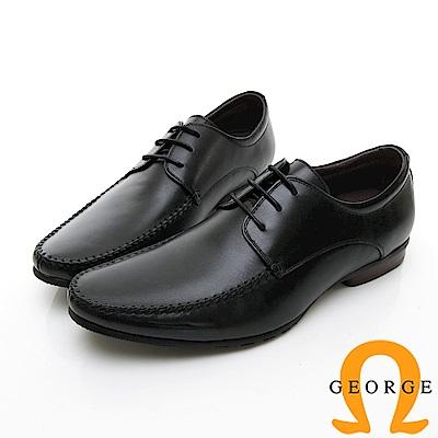 【GEORGE 喬治皮鞋】商務系列 圓頭立體紳士皮鞋-黑色