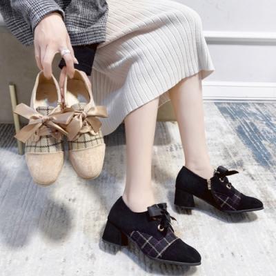 KEITH-WILL時尚鞋館 機能歐美復古方格英倫粗跟鞋