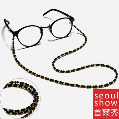 seoul show首爾秀 黑金串珠口罩掛繩鍊眼鏡鍊老花眼鏡防丟鍊