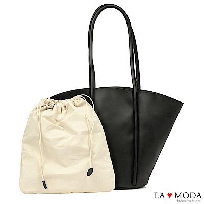 La Moda 設計感大容量托特肩背手提子母包托特包(黑)